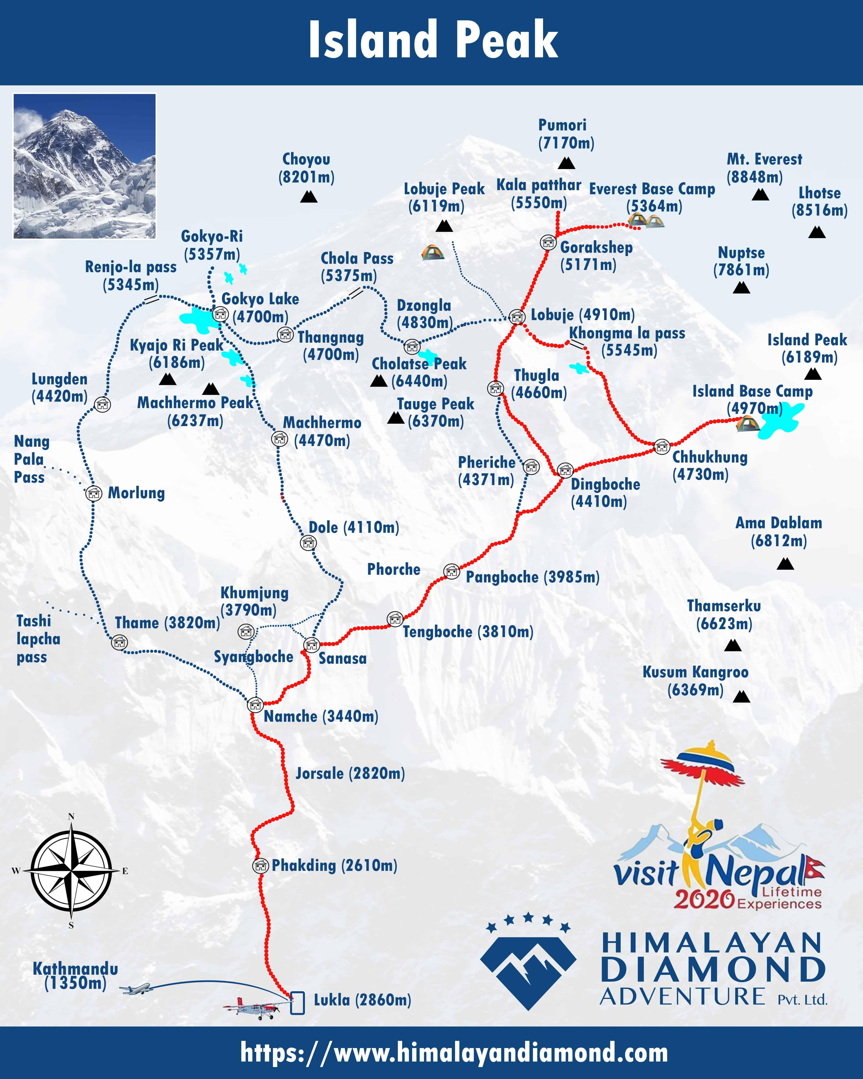 Island (Imja-Tse) Peak Climbing [6,189 meters/ 20,305 ft] Map